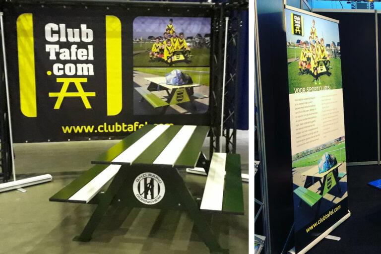 ClubTafel reclame spandoek en roll-up banner beurs