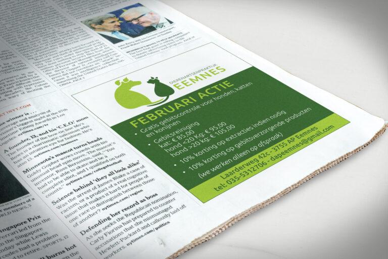 Dierenartspraktijk Eemnes advertentie krant